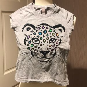Justice t-shirt leopard, cute, size 6 girls